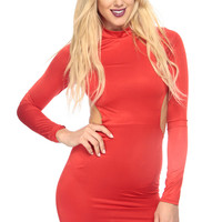 Red Multi Strap Body Con Dress