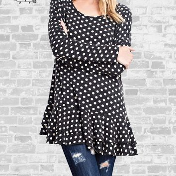 Polka Dot Ruffle Tunic Top - Black & Ivory