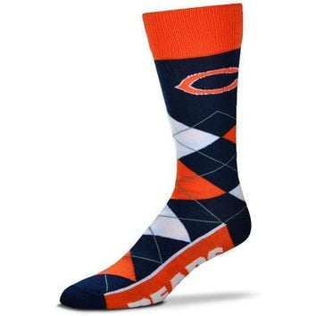 CHICAGO BEARS ARGYLE LINE UP CREW SOCKS BRAND NEW FOR BARE FEET