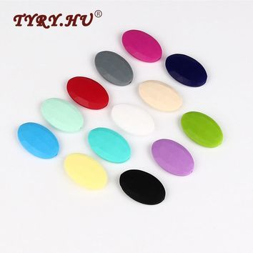 TYRY.HU 100pc BPA Free Silicone Beads Teething Diamond Flat Oval Baby Teether Bead For Necklace DIY Bracelet Chew Jewelry Making