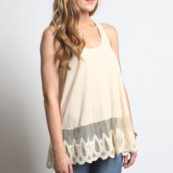 Umgee Ribbed Lace Tank