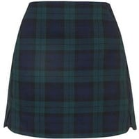 Blackwatch Check Pelmet Skirt - Navy Blue