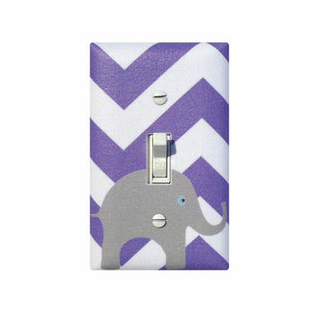 Purple and Gray Chevron Elephant Light Switch Plate / Dark Lavender Lilac White Baby Girl Nursery Decor / Slightly Smitten Kitten