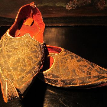 Traditional Tribal Shoes Gold Embroidered Leather Sole