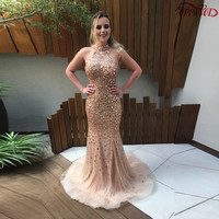 Blingbling Champagne Mermaid Prom Dress Sleeveless Halter Backless Crystal Beading Sexy Prom Dresses Long Tulle Prom Gown PD105