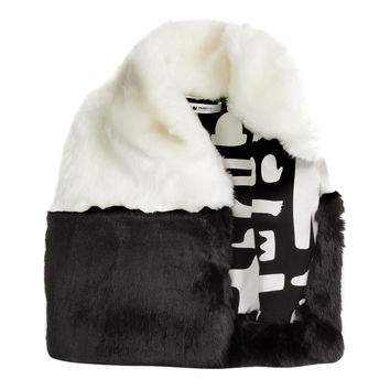 OMAMImini Colorblocked Faux Fur Vest - White -