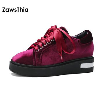 ZawsThia velour velvet square toe lace up women shoes flat platform leisure casual shoes for woman sneakers chaussure homme