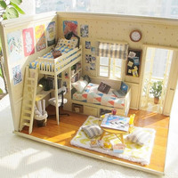 Miniature Dollhouse Room DIY Kit   My Buddies and Me with Voice Control Light