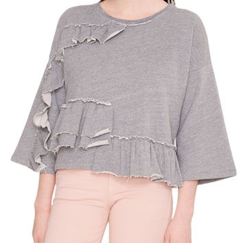 Tiered Ruffle French Terry Top