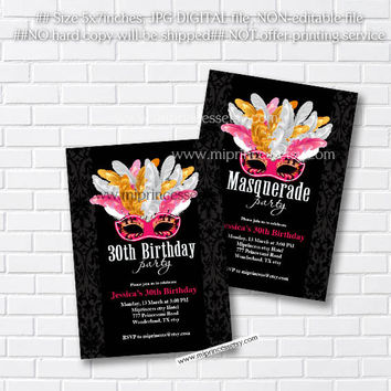 masquerade invitation Birthday Invitation for any age 10 18 20 30 40 50 60 gathering Party  Happy party Invitation Card Design - card 48