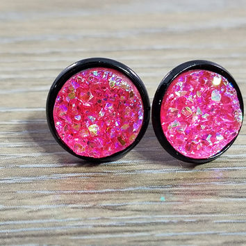 Druzy earrings- Hot Pink drusy Black stud druzy earrings
