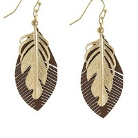 FAUX LEATHER LAYERED LEAVES EARRINGS