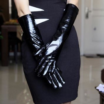 Free shipping Women's leather gloves ultra long faux leather PU  leather long design fashion black color 40cm, 50cm, 60cm length
