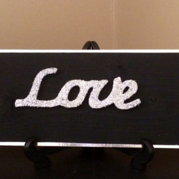 Glittered Love Painted wood sign, Wall Decor, Wood Sign, Family Wood Sign, Chic wall decor, Wood Shelf Sign, Modern, Contemporary