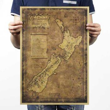Lord of the rings the hobbit map of middle-earth movie posters restoring ancient ways map kraft paper adornment picture poster