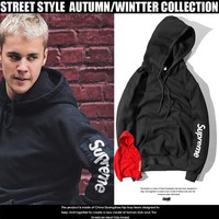 Justin Biber x Supreme Hooded plus Velvet Sweater S-XXL