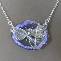 Wire Wrapped Dragonfly Purple Quartz Stone Necklace