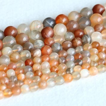 "Real Genuine Natural Multi-color Yellow Orange Moonstone Sunstone flash light Round Loose Ball Beads 6mm 8mm 10mm 15"" 05143"