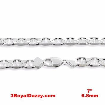 Italy Solid Flat Marina Anchor Link .925 Anti-Tarnish Silver Bracelet - 6.8mm 7""