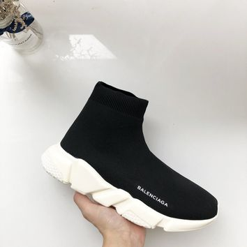 Balenciaga Speed Trainer Mid Black White Sneakers Stretch Knit Socks Shoes - Best Deal Online