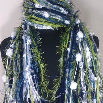 Knotted Scarf All Fringe Scarves Womens Scarf - Shades of Navy, Steel Blue, Lime, and White - $29.95 - Handmade Crafts by Flora's Finest Scarves