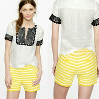 J. Crew Yellow + White Striped Shorts | Textured