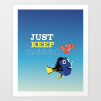 just keep swimming with nemo and dory Art Print by Studiomarshallarts