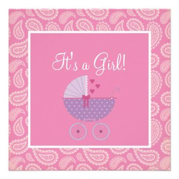 Cute Pink Paisley Girl Baby Shower Invitation from Zazzle.com