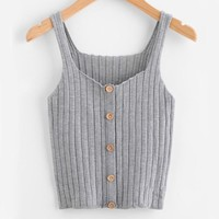 Ribbed Soft Knit Tank - Grey