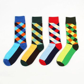 Fashion Argyle Diamonds Pattern Light Color Soft Cotton Tube Sock For Men