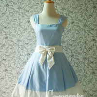 Blue ALICE IN WONDERLAND Dress White Ribbon Pleated Sweetheart Neckline