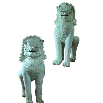 1900s Huge Foo Dog Statues, Matching Life Size Turquoise Metal Doorway Guards