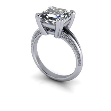 Asscher Cut Engagement Ring - Diamond Ring - Forever One Moissanite -Customize Your Ring