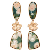 Cherry Blossom Ocean Jasper Earrings | Moda Operandi