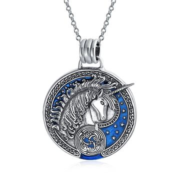 Unicorn Medallion Celtic Pendant Pegasus Necklace 925 Sterling Silver