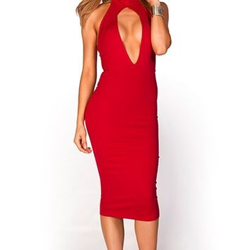 Carissa Red Plunging Cut Out Midi Length Halter Cocktail Dress