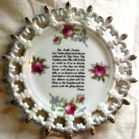 Lefton China The Lord's Prayer/Our Father Collector Plate Gold-Trim Roses Japan