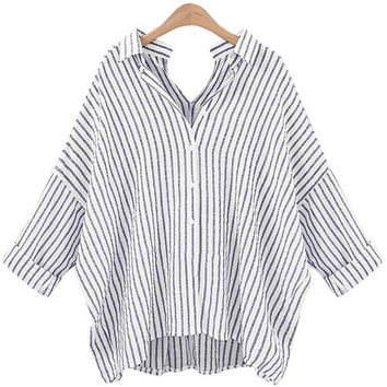 Vertical Striped Back and Front V-Neck Collared Loose Shirt