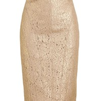 No21   Metallic Lace Pencil Skirt   Browns fashion & designer clothes & clothing