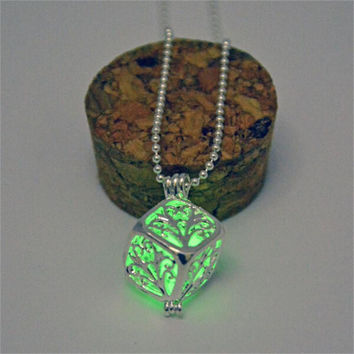 Green glow in the dark silver 3d cube pendant necklace, key ring, or rear view mirror hanger