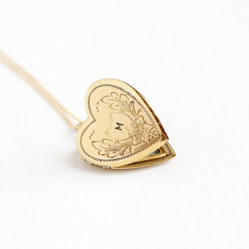 Vintage 12k Gold Filled Heart M Signet Flower Locket Necklace - Art Deco Circa 1930s Monogrammed Initial Statement Photograph Jewelry