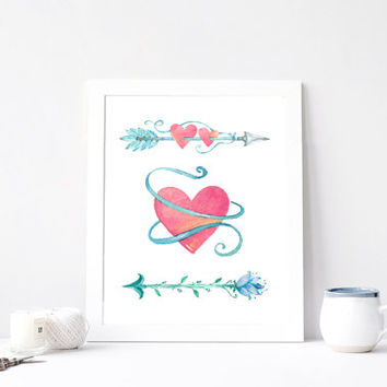 Heart & Arrows Wedding Watercolor Nursery Print, Pink Tribal Girl Aquarelle Printable, Watercolour Rose Mint Quote, INSTANT DOWNLOAD 8x10