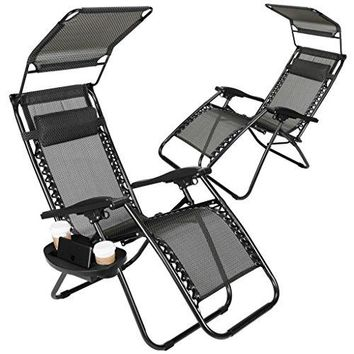 Set of 2 Zero Gravity Outdoor Lounge Chairs w/Sunshade + Cup Holder with Mobile Device