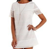 Ivory Crochet Cut-Out Shift Dress by Charlotte Russe