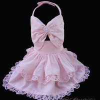 Little Lady  Couture Pink Eyelet Dog Harness Dress