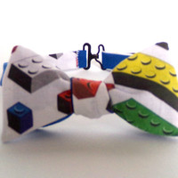 Lego Bow Tie Self Tie Mens Boys Child Freestyle Necktie Bowtie Blocks Bricks White Colorful Cotton Christmas Gift Leggo Baby Tie Toy Photo