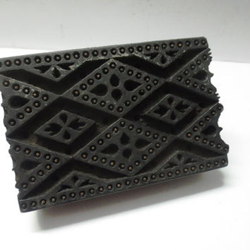 Antique Indian wooden hand carved textile printing fabric block / stamp vintage print pattern