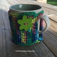 Handmade Crochet Coffee Mug Cozy in Variegated Tropical Colors - Eco Friendly - Coffee Cozy - Coffee Accessories - Tea Cozy - Coffee Sleeve