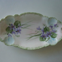 Floral Dresser Vanity Dish ~ Hand Painted Violets ~ Porcelain Purple Green ~ Romantic Cottage Decor