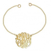 """Personalized Initial Bracelet 0.8"""" Sterling Silver w/ 24K Gold Overlay"""